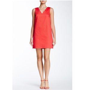 CeCe Scallop Neck Coral Orange Dress 4